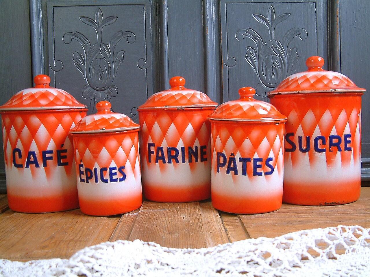 Set of 5 vintage french enamel kitchen canisters red orange for Kitchen set orange