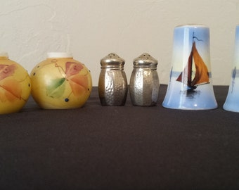 SALT & PEPPER SHAKERS Lot of 3 sets Vintage Antique Sail Boat Nickel Silver Ceramic Asian Design