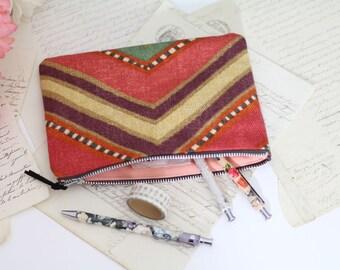 Zipper Pouch, Pencil Case, Makeup Bag, Cotton Pouch, Western Print