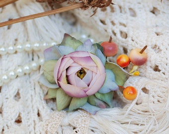 Peony hair clip, flower hair clip, rustic wedding accessories, bridal hair clip, woodland hair clips, rustic brooch
