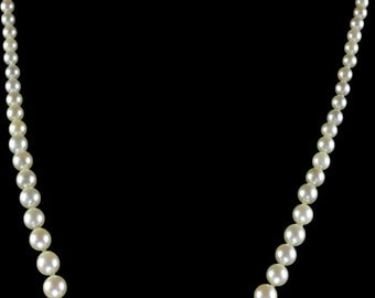 Antique Victorian Pearl Necklace With Diamond Clasp