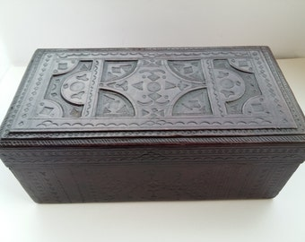 African tuareg vintage tooled rectangular dark brown leather keepsake box