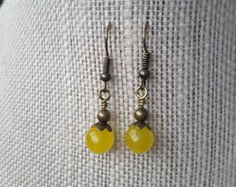 Faceted Yellow Agate Drops. Earrings.