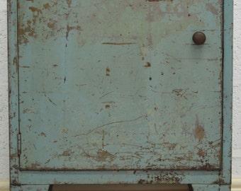 Mid-Century Retro Industrial Slim Blue Metal Cabinet