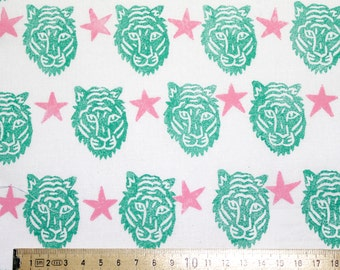 """Teal and Pink Block-printed Tiger Fabric - """"Tiger Party"""""""