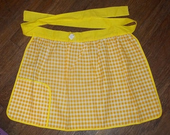 Vintage Yellow Checked Apron