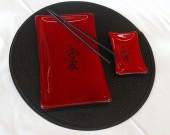 Glass Sushi Set - Fused Glass Hand Painted
