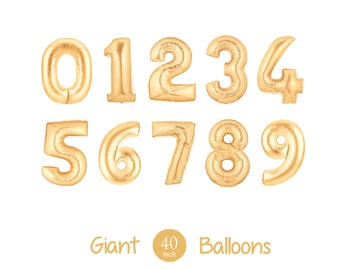 "Giant 40"" Inch Gold Mylar Balloons - Choose Your Number  - Metallic Gold - Birthday Party Ballons, Number Balloons, Giant Numbers"