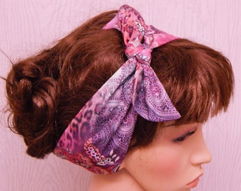 Retro tie up hairband, dolly bow head scarf, pin up women's hair scarf, self tie pink headband, vintage style head wrap bandanna