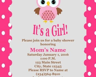 Its a Girl - Owl baby Shower Invitation Digital Download