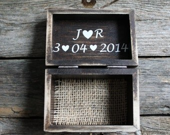 Rustic Ring Bearer Box, Personalized Ring Box, Custom Wooden Box