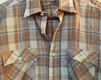 Levi's Western Shirt Mens Large Plaid Vintage