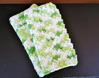 Dish Cloth Set Handmade Crochet Cotton Dish Rag Wash Cloth (set of 2) Knit Green