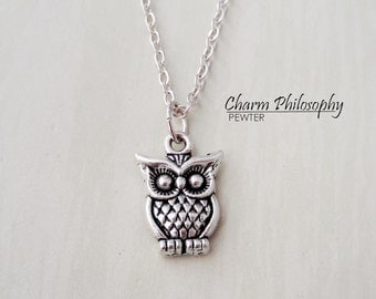 Owl Necklace - Small Owl Charm - Antique Silver Toned Jewelry