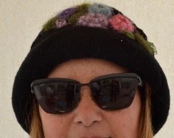 Hat Handknit Hat, Black Hat