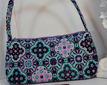 Purse satchel top handle quilted shoulder bag aqua purple geometric print tote