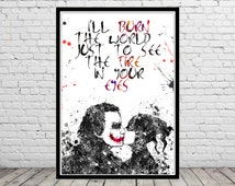 Harley Quinn and Joker inspired, Harley Quinn and Joker,Watercolor Print,Superhero, Wall Art,Poster, kids Room decor(1835b)