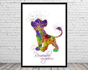 The Lion King inspired, Remember who you are, Watercolor print, Kids Room Decor, Poster,print (1583b)