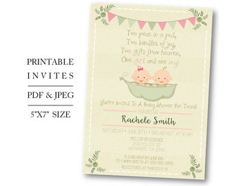 Peas In A Pod Twin Baby Shower Invite