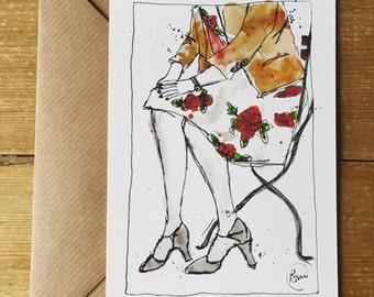 Flower dress watercolour illustraion Postcard