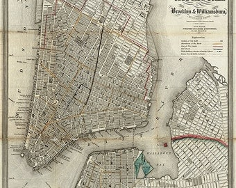 Map of Lower Manhattan, Brooklyn, Williamsburg, 1840.  New York, NYC.  Restoration Hardware Home Deco Style Old Wall Vintage Reprint.