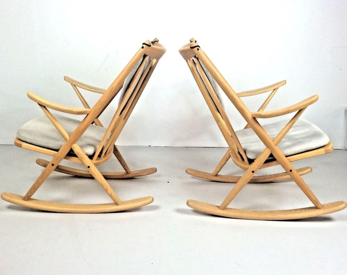 Sold RARE Set of DANISH Mid Century Modern Rocking Chairs Frank REENSKAUG For Jesper