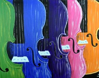 Rainbow of Violins painting 8x10 print