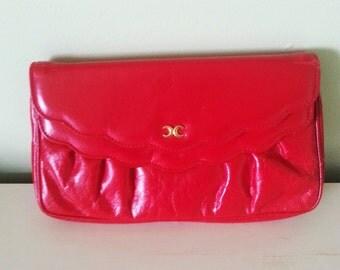 Vintage red purse, vintage red clutch, vintage shoulder bag, red clutch, red shoulder bag, vintage red bag. 1980's red bag,1980's red clutch