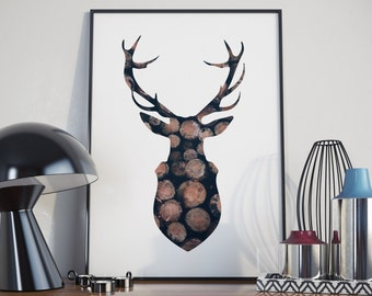 Piles of Wood Stag Decor, Modern Digital Print - Instant Download