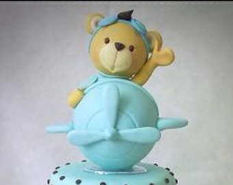 Fondant Cake Topper Bear airplane