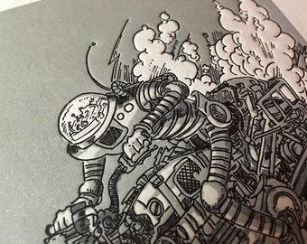 Robot on a Motorcycle - Print Letterpress