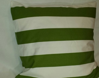 Green and White Pillow Cover