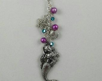 Mermaid jewelry handmade beach necklace mermaid charm pendant necklace