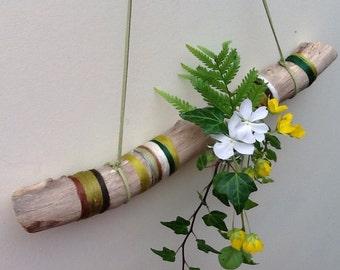 Natural weathered branch// Merino wool wrapped hanging branch// Hanging bud vase branch