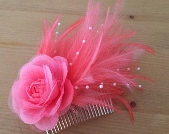 Coral pink feather fascinator/ decorative comb/ headpiece Bridesmaid, wedding, hair accessory