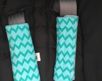 Car seat \ Stroller strap covers turquoise chevron mint fabric \ minky strap covers