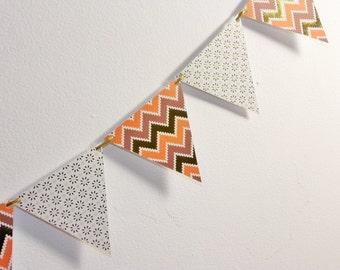 Paper Garland - Fall Garland - Autumn Garland - Fall Paper Bunting - 6 ft. long - Thanksgiving garland