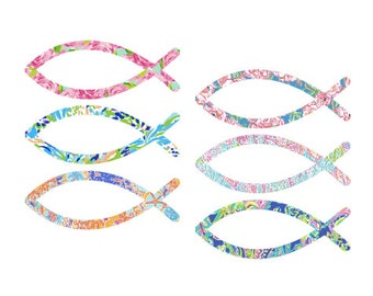 Lilly Pulitzer insp. Christian Fish (ichthys) sticker/decal