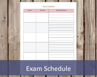 Exam Schedule - Student Planner - Printable/Editable PDF - Student Organizer - INSTANT DOWNLOAD