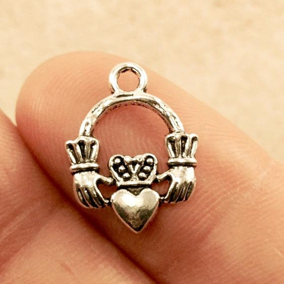 claddagh ring charm 5 pcs antique silver tone claddagh ring
