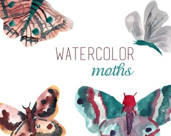 Watercolor Moths Clipart Commercial Use