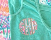 Lilly Pulitzer Monogram, Lilly Pulitzer Tank, Lilly Pulitzer Shirt, Lilly Monogrammed Tank, Comfort Colors Tank Top