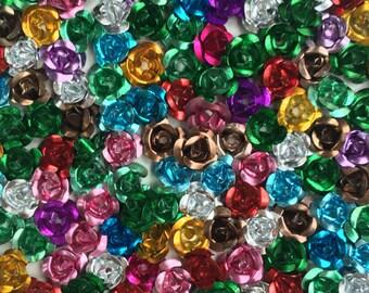 Metal Rose-Assorted Color Metal Rose-7mm Metal Rose-100pcs Metal Rose