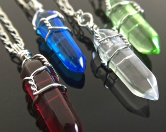 Crystal Necklaces Elemental Jewelry Fire Water Air Earth Crystal Elements Necklace or Choker