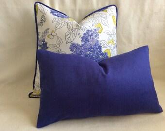 Spring Floral Designer Pillow Cover Set - Violet/White/Green - 2pc