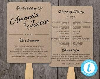Rustic Wedding Program Fan Template, Fan Wedding Program Template - Instant Download - Edit in Our Web App - Clean & Cursive