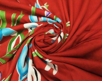 """Red Color Rayon Fabric With Floral Printed 45"""" Wide Pillow Cover Curtain Dress Making Sewing Floral Cotton Dress Fabric By 1 Yard ZBC4689"""