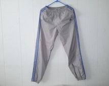 Vintage Gray Adidas Windbreaker Jogger Track Pants 3 Three Stripe Sz XL Retro Track suit
