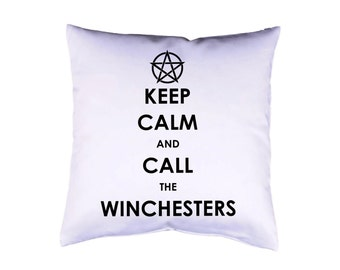 "Pillow case 16"" Keep Calm Supernatural cushion cover with print on both sides optional with filling"