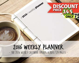 2016 Planner including: Weekly Planner, address book and 2016 & 2017 Yearly Calendar - black and white - INSTANT DOWNLOAD